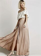 NEW Free People Beach nude tan Drapy Rayon Maxi Skirt High Slit Elastic Waist S