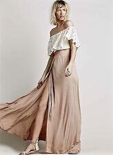 NEW Free People Beach nude tan Drapy Rayon Maxi Skirt High Slit Elastic Waist S