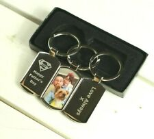 Photo Keyring and Engraved Personalised Message - Gift box
