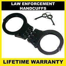POLICE Handcuffs Professional Heavy Duty Metal Steel Hinged Double Lock - BLACK
