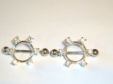Pair of 6 Clear Gem CZ Circle Nipple Shields Rings 14g