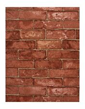 York Modern Rustic Red Brick With Beige Grout Textured Wallpaper RN1032