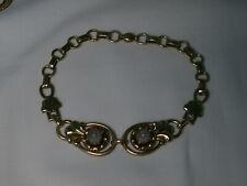 Vintage 12K Yellow & Rose Gold Filled,Center Diamond Camphor Glass Bracelet