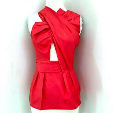 3.1 PHILLIP LIM Asymmetric bow top w/ peplum NWT $450 sz 2 Geranium silk