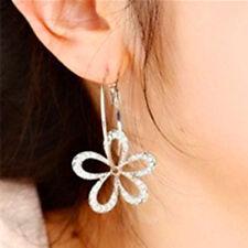Women Elegant Silver Plated Crystal Rhinestone Flower Stud Earrings Hoop Jewelry
