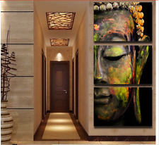 40x60cm Buddha Statues Triple Frameless Canvas Prints Oil Painting Wall Art Home