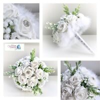 BRIDESMAID WHITE WINTER ROSE BOUQUET BROOCH WEDDING CHRISTMAS THEME FEATHER TRIM