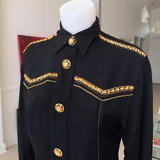 GIANNI VERSACE COUTURE black western silk shirt with rhinestone size Italian 38