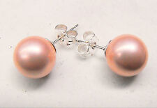 Large Pink Pearl Stud Earrings 10mm Sterling Silver (925) by Creola