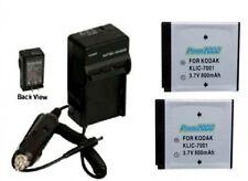 2 KLIC-7001 Batteries + Charger for Kodak MD863 M893 M1063 MD1063 MX1063 M1073