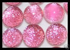Lot of 6 XS TWINKLE DK ROSY PINK Fused Glass DICHROIC Cabochons NO HOLES Beads