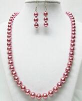 Pink Opaque /& Aqua Glass wRondelle Rhinestone Bead NecklaceBracelet Earrings Set