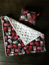 "New listing Black and Pink Skulls Small Pet Blanket Handmade (11""×11"")"