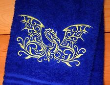 Mythological DRAGON Towels~Embroidered Fantasy Hand & Bath Towels~Choose Colors