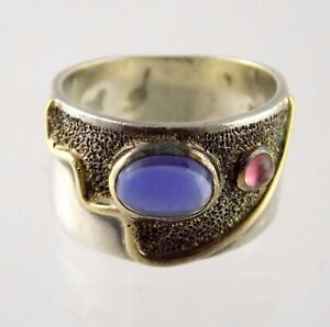 Artisan Sterling Silver and 14k Yellow Gold Iolite and Garnet Ring 925 Size 6.75