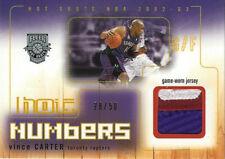 2002-03 Vince Carter Fleer HOT NUMBERS GW JERSEY PATCH #28/50 Toronto Raptors