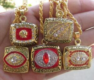 5pcs Washington Redskins American Football Team Ring Pendant Necklace Men gift