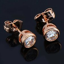 Womens Punk Authentic Crystal Stud Earrings Korean Openwork Rose Gold Filled Lot