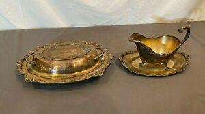 Antique/Vintage 1847 Rogers Bros. Heritage 9413 Gravy Boat +9412 Covered Platter