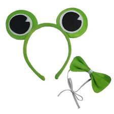 FROG SET HEADBAND BOW TIE PRINCE PRINCESS KERMIT TOAD FANCY DRESS GREEN UNISEX