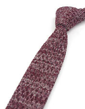 Men Wool Blend Knit Knitted Flat Slim Narrow Rare Mixed Solid Tie Necktie Red