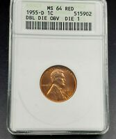 1955 D Lincoln Wheat Cent Penny Variety MS64 RED ANACS DDO 001 FS-21.93 FS-101
