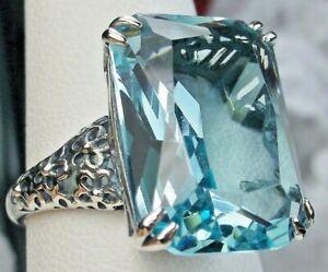 Aquamarine Ring, Vintage Design Sterling Silver Filigree, Custom, US SELLER,#224