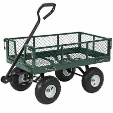 Heavy Duty Utility Cart Wagon Lawn Wheelbarrow Steel Trailer  Max 660lbs