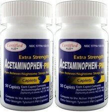 Acetaminophen PM Extra Strength Pain Reliever 500mg Generic Tylenol PM 100 Tabs.