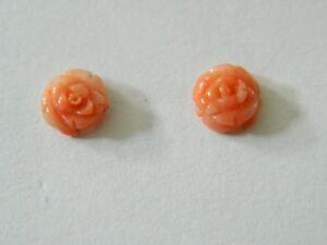14K 14 Karat Yellow Gold   coral     Earrings  FINE JEWELRY