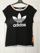 Ladies ADIDAS Black & Multi Striped Back T-shirt Top Size 16