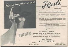 ▬► PUBLICITE ADVERTISING AD Lingerie Gaine J. BERLE Berlé 1955
