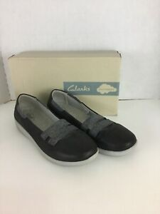 Clarks Cloud Steppers Sillian Slip On Sneakers Loafers Size 12 W Black Gray