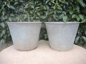 2 Genuine Vintage Galvanised Flower Buckets  Garden Planters  22 cm high  (505)