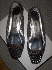 BELLES BALLERINES AUTHENTIQUE JIMMY CHOO TAILLE 36,5 100% CUIR CHOCOLAT METTALIC