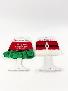 TWO Ganz Holiday Wine Glass Skirts Christmas Gift NEW Free Ship