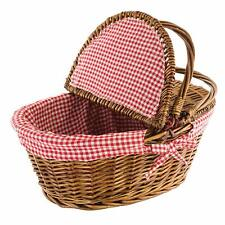 Kovot Country Style Wicker Picnic Basket with Folding Handles & Liners