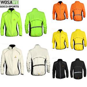 High Vis Mens Cycling Jersey Long Sleeve Jacket Bicycle Bike Softshell Wind Coat