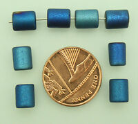 100 x Blue Coated Glass Cylinder Shaped Beads For Jewellery Making Size (mm) 8