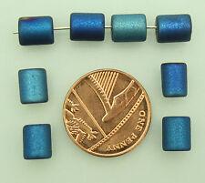 100 x blu Coated cilindro di vetro a forma di perline per gioielli rendendo dimensioni (mm) 8