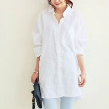 Lady Linen Look Oversize Loose Boyfriend Style Blouse Long Shirt Top Tee Hippie