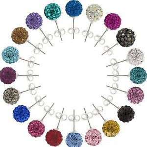 10 Pairs Sparkle Clay Rhinestone Ear Stud 10mm Crystal Pave Disco Ball Earrings