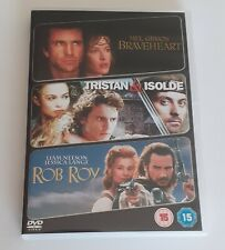 Action & Romance Movies Collection Braveheart Rob Roy Tristan & Isolde Dvds