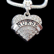Nurse charm  fits european bracelet  crystal heart charm  (charm only)