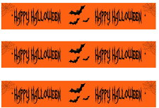 Happy Halloween Orange Pre Cut Edible Icing Cake Side Strips / Ribbon (3 strips)