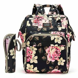 Diaper Backpack Mummy Baby Nappy Bag Large Capacity W/Insulated Bag Changing Pad