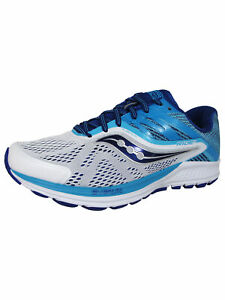 Saucony Womens Ride 10 Running Sneaker Shoes, White/Blue, US 5.5 N