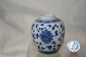 Miniature Dollhouse Vintage Blue /White Floral Porcelain Asian Floor Vase 1:12