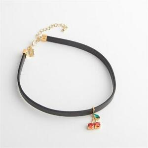 Kate Spade New York Ma Cherie Cherry Leather Choker Necklace