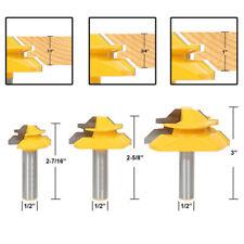 "3Pcs 1/2"" Shank Lock Miter Glue Joint Router Bit 45 Degree Woodwork Cutter Set"